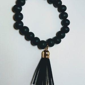 Jewelry - Trendy Black Matte Wood Bracelet Leather Tassel St
